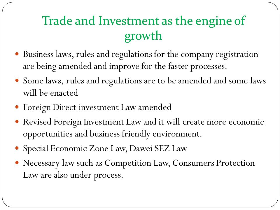 Trade and Investment as the engine of growth