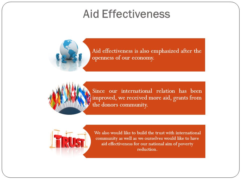 Aid Effectiveness Aid effectiveness is also emphasized after the openness of our economy.