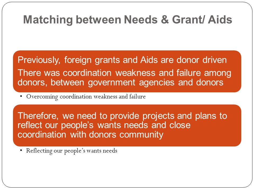 Matching between Needs & Grant/ Aids