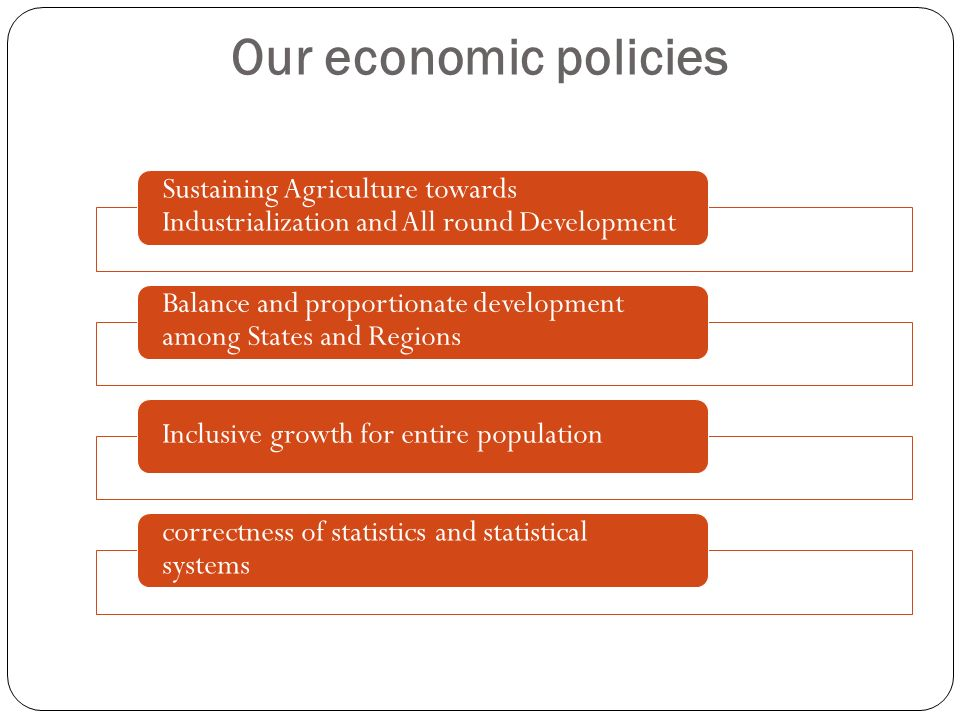 Our economic policiesSustaining Agriculture towards Industrialization and All round Development.
