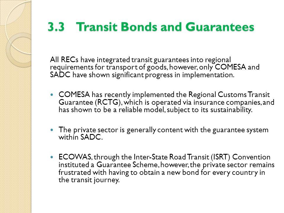 3.3 Transit Bonds and Guarantees