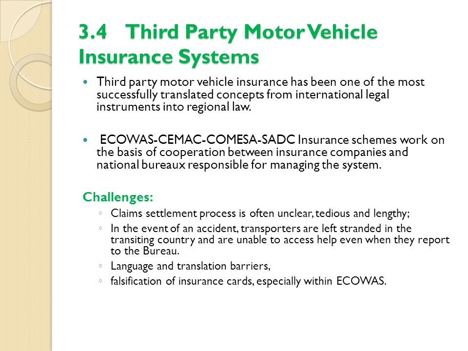 3.4 Third Party Motor Vehicle Insurance Systems