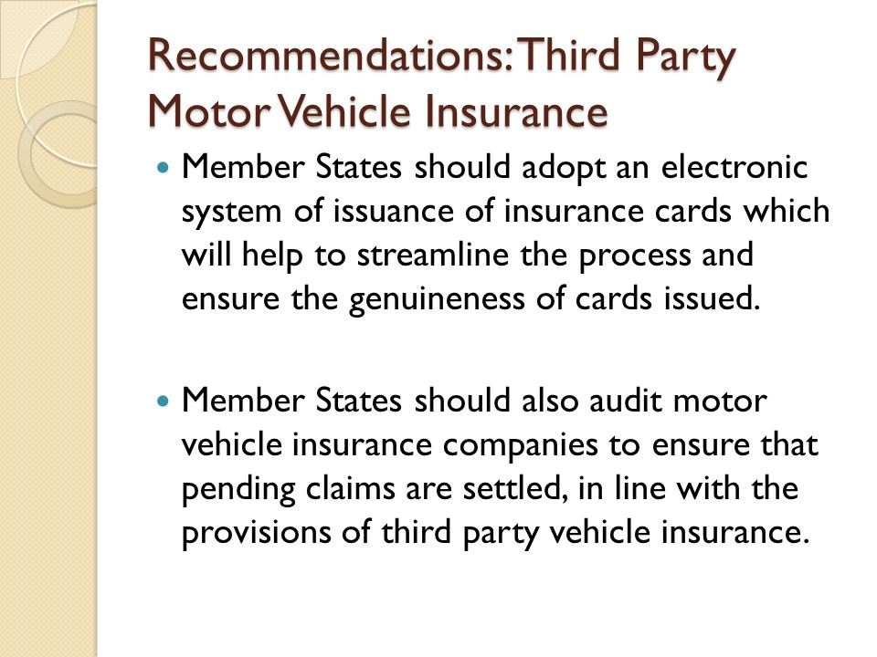 Recommendations: Third Party Motor Vehicle Insurance
