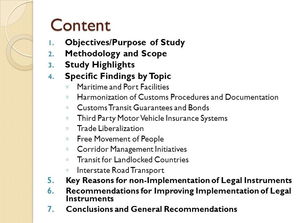 Content Objectives/Purpose of Study Methodology and Scope