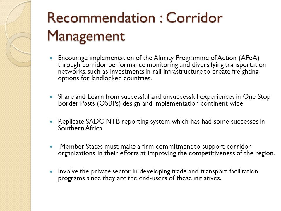 Recommendation : Corridor Management