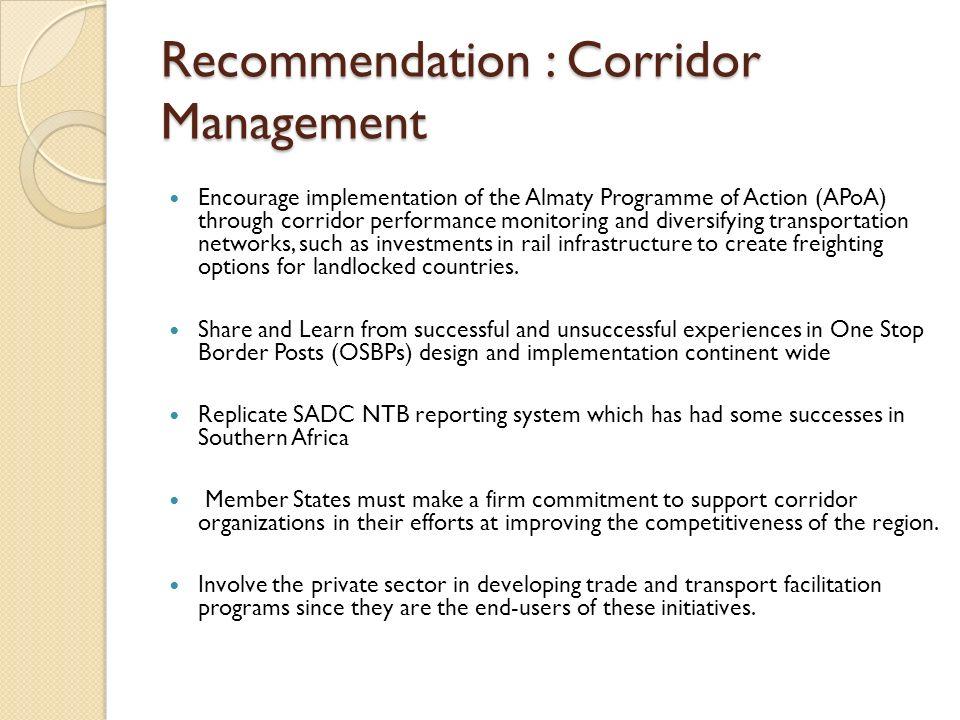 Recommendation : Corridor Management