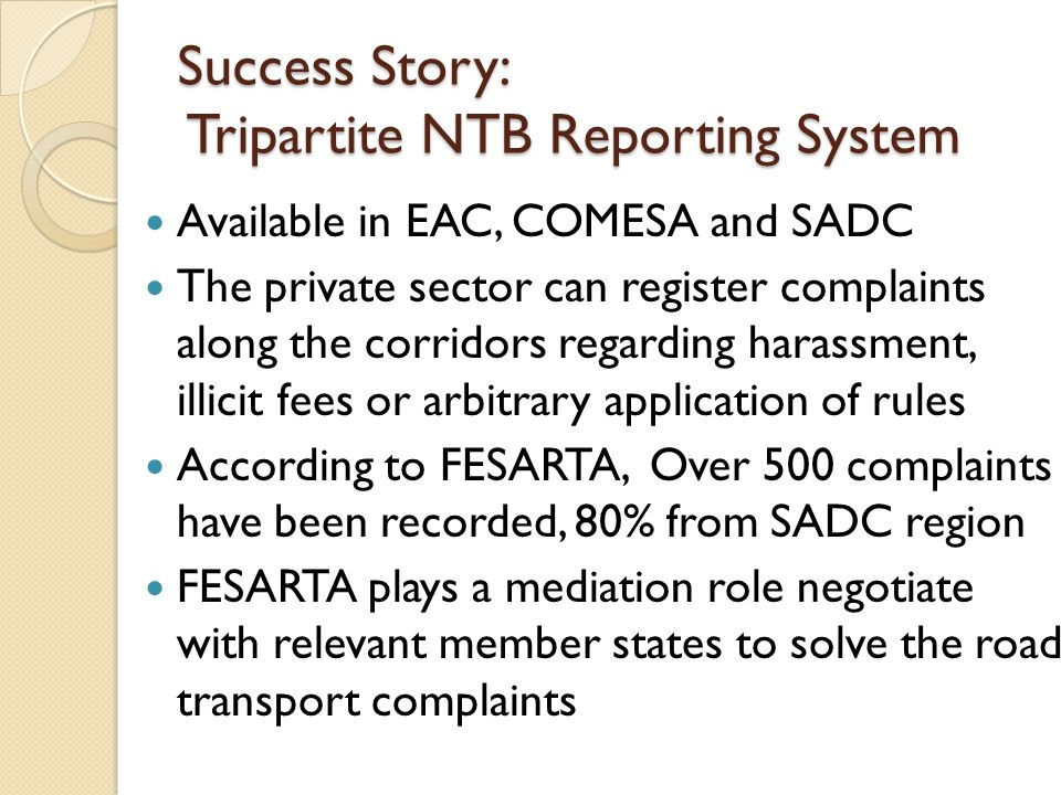 Success Story: Tripartite NTB Reporting System