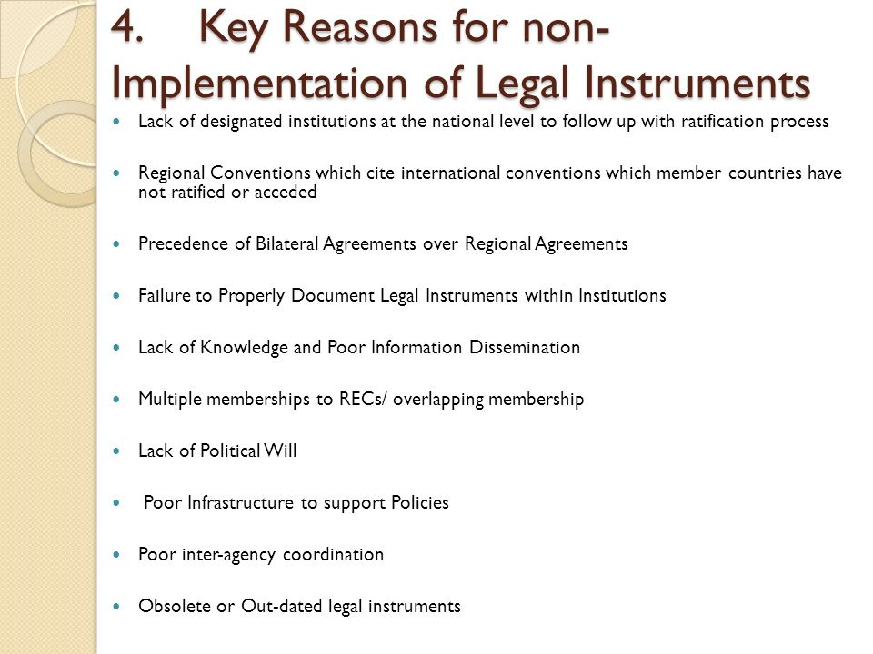 4. Key Reasons for non-Implementation of Legal Instruments