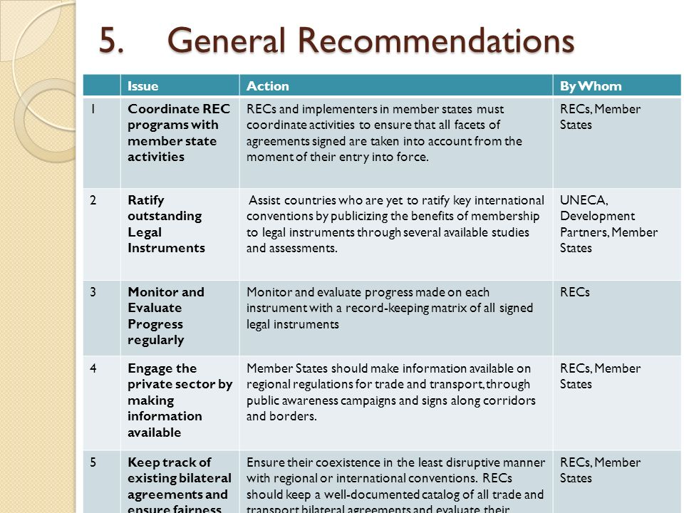 5. General Recommendations