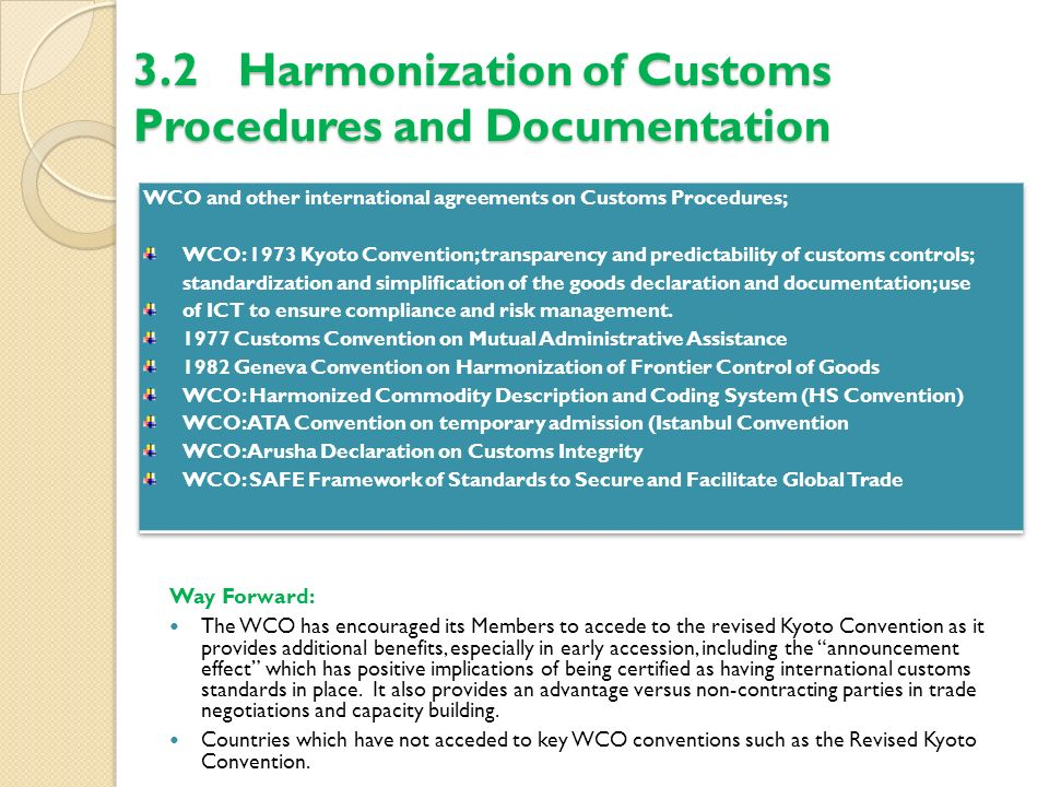 3.2 Harmonization of Customs Procedures and Documentation