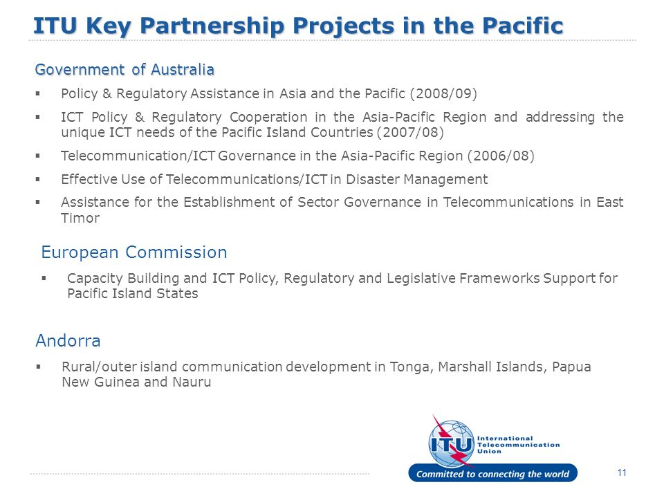 ITU Key Partnership Projects in the Pacific