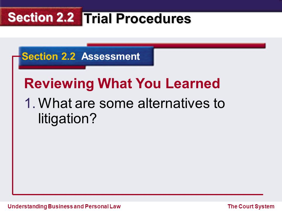 Reviewing What You Learned What are some alternatives to litigation
