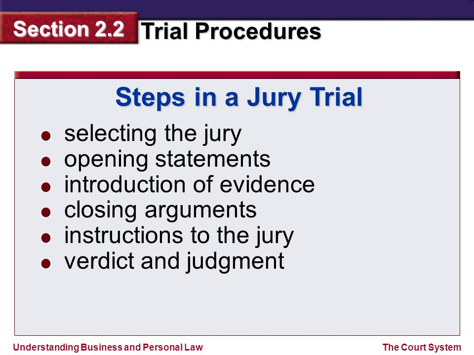 Steps in a Jury Trial selecting the jury opening statements