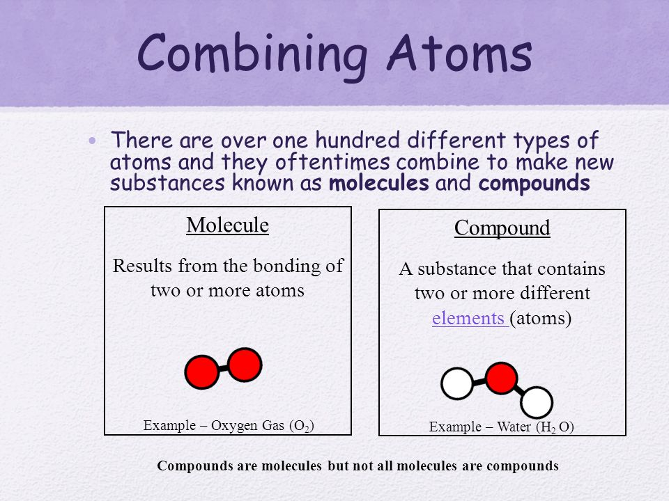 how to add atoms molecules and different elements