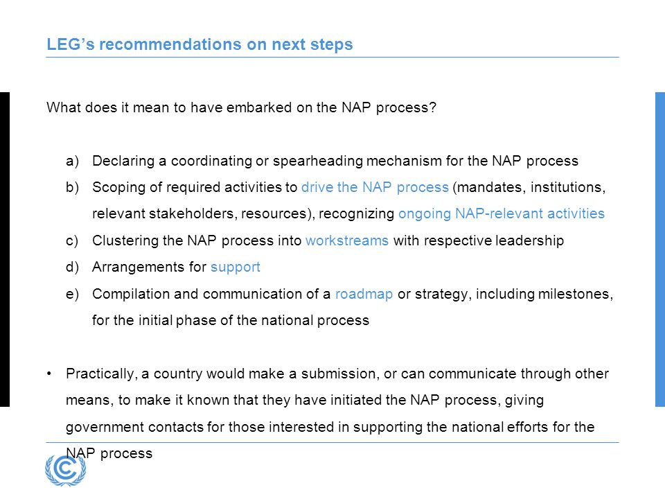LEG's recommendations on next steps