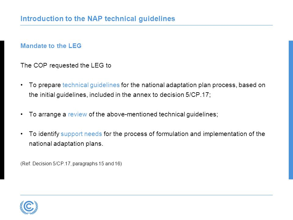 Introduction to the NAP technical guidelines