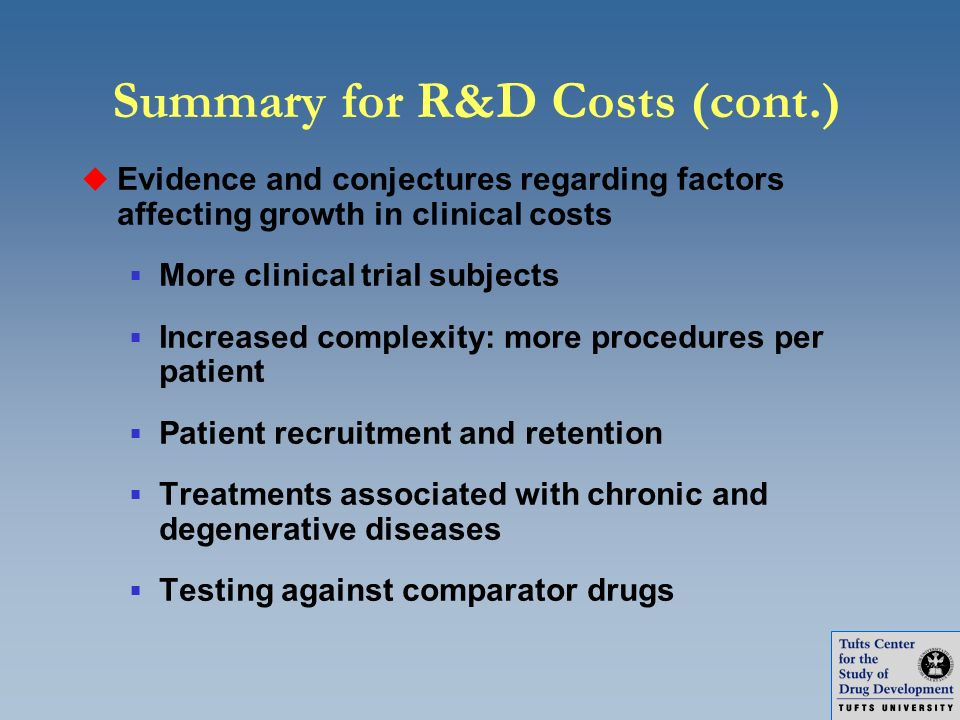 Summary for R&D Costs (cont.)