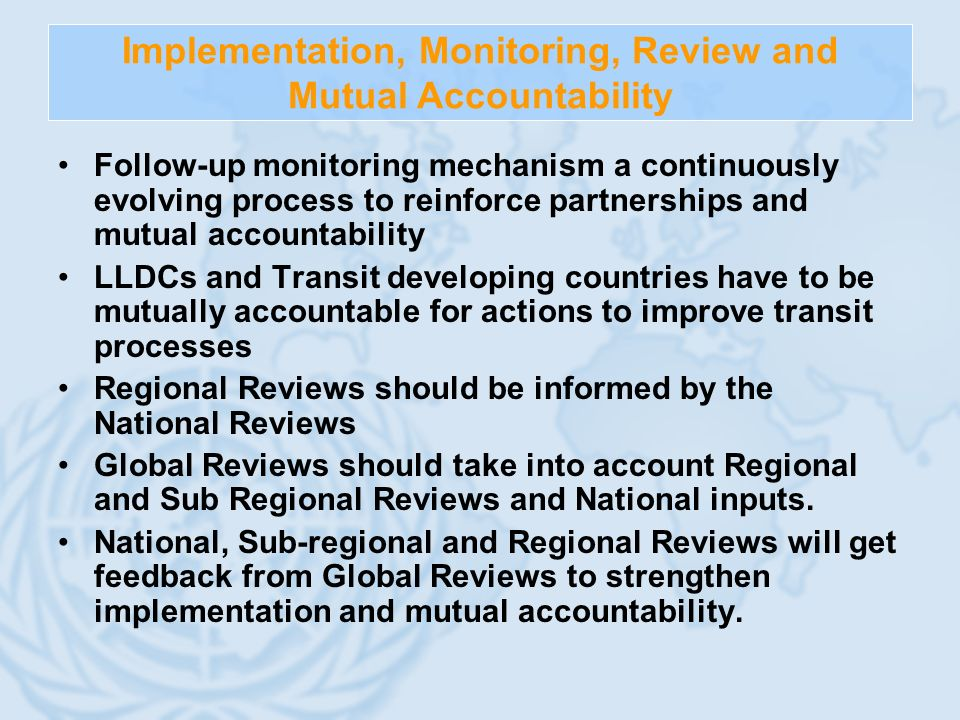 Implementation, Monitoring, Review and Mutual Accountability