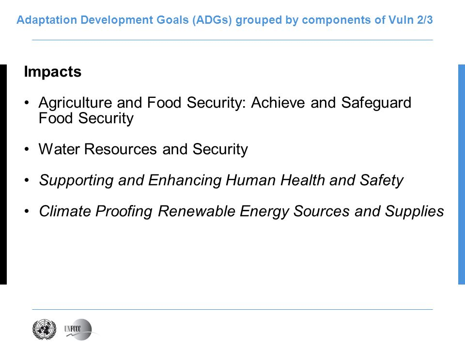 Adaptation Development Goals (ADGs) grouped by components of Vuln 2/3