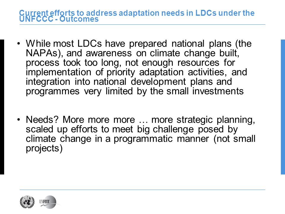 Current efforts to address adaptation needs in LDCs under the UNFCCC - Outcomes