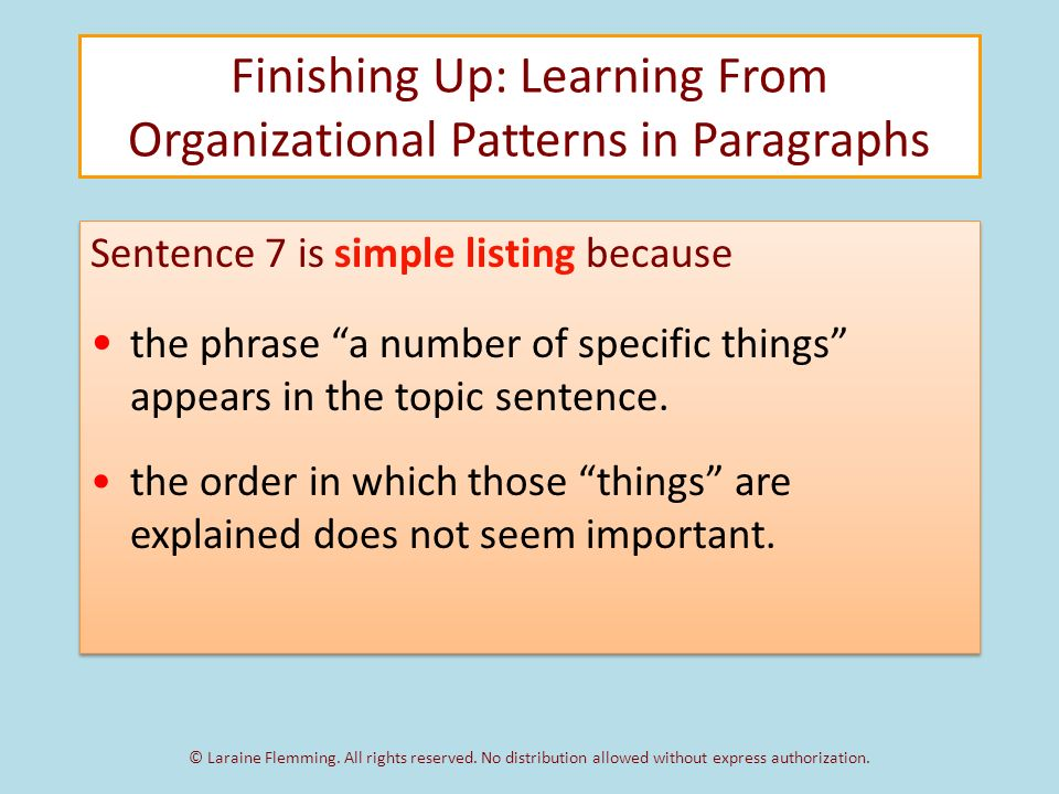 non specific organizational patterns Text organization structures specific questions in mind each organizational pattern suggests a number of questions that will be answered.