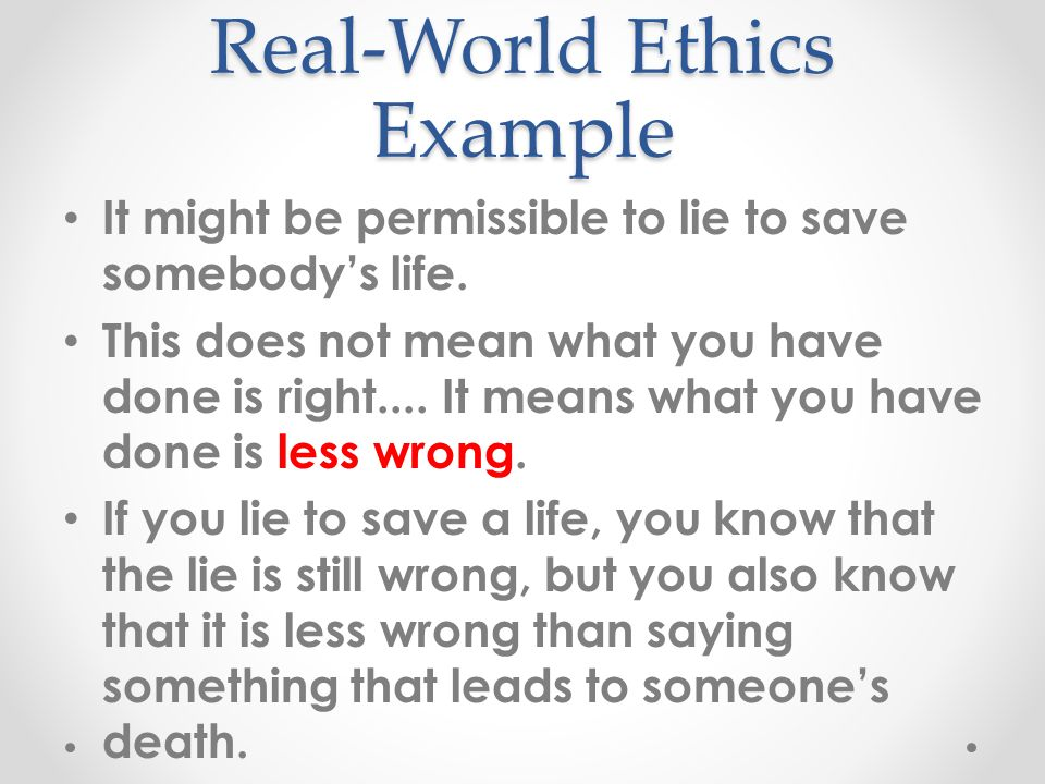 real world examples rights based ethics There is almost always a prescriptive element in any real-world ethical statement: any ethical statement can be reworked (with a bit of effort) into a statement with an 'ought' in it.