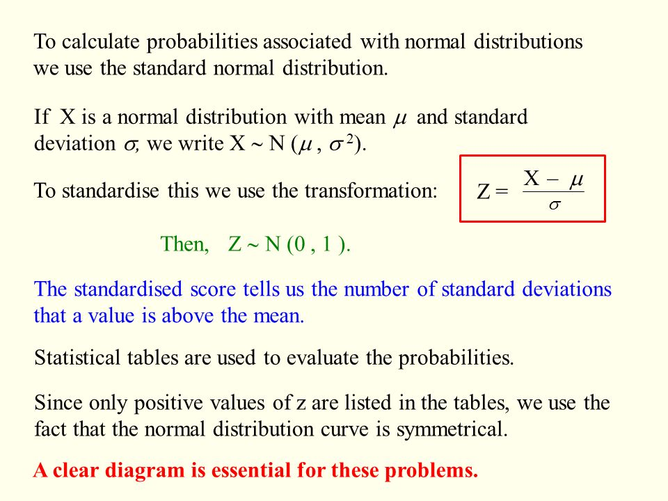The normal distribution ppt video online download to calculate probabilities associated with normal distributions ccuart Images