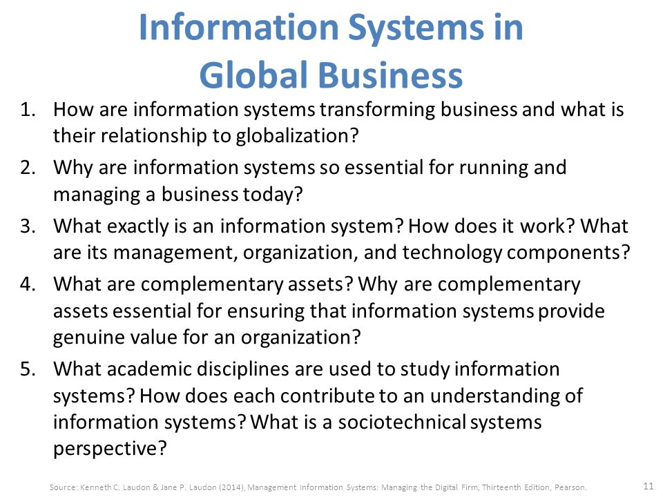 information system in global business today Information systems in global business today information technology consists of all the hardware and software that a firm needs to use in order to achieve its business objectives information system slideshow 1688198 by beulah.