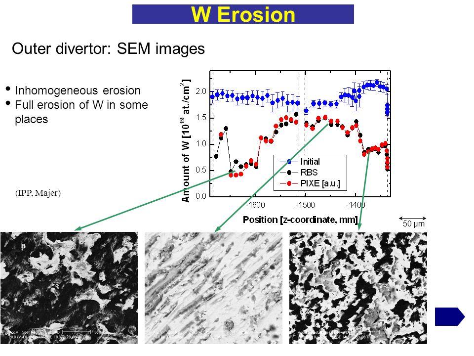 W Erosion Outer divertor: SEM images Inhomogeneous erosion
