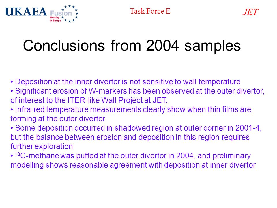 Conclusions from 2004 samples