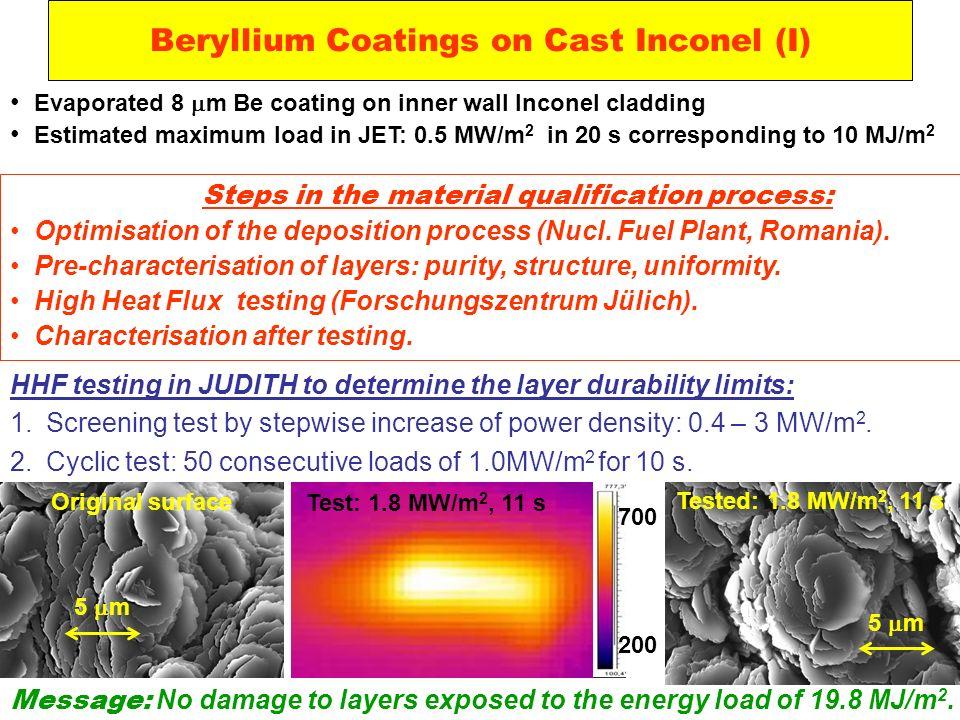 Beryllium Coatings on Cast Inconel (I)