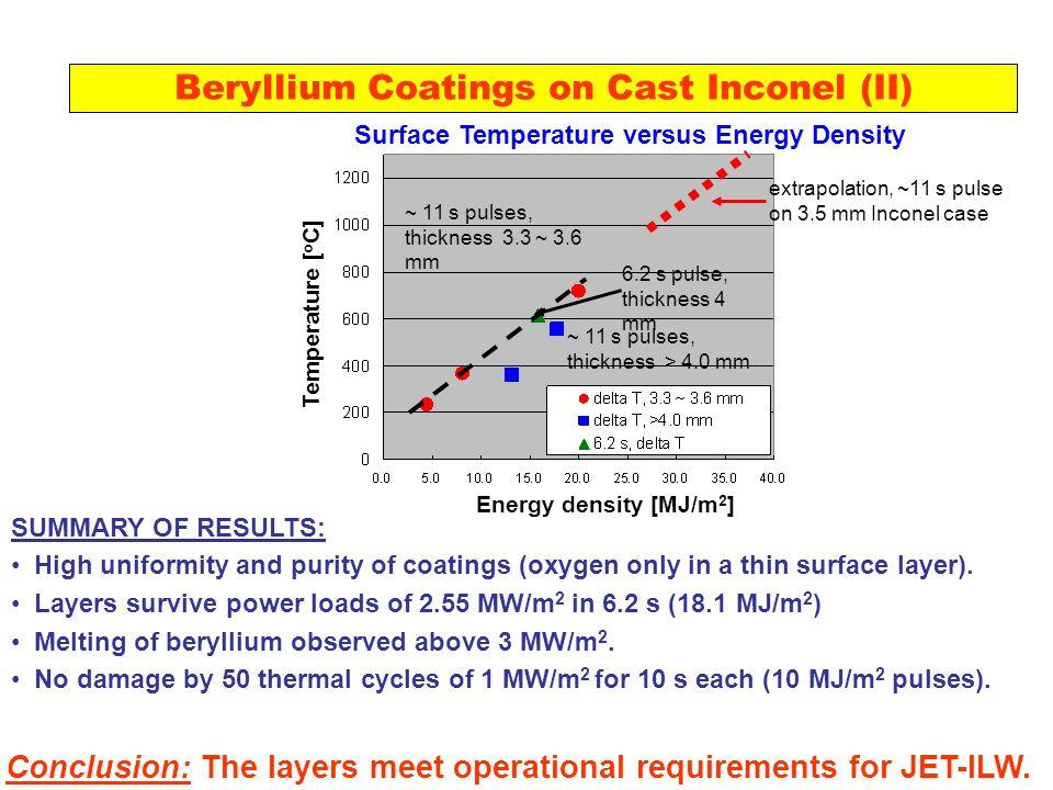 Beryllium Coatings on Cast Inconel (II)