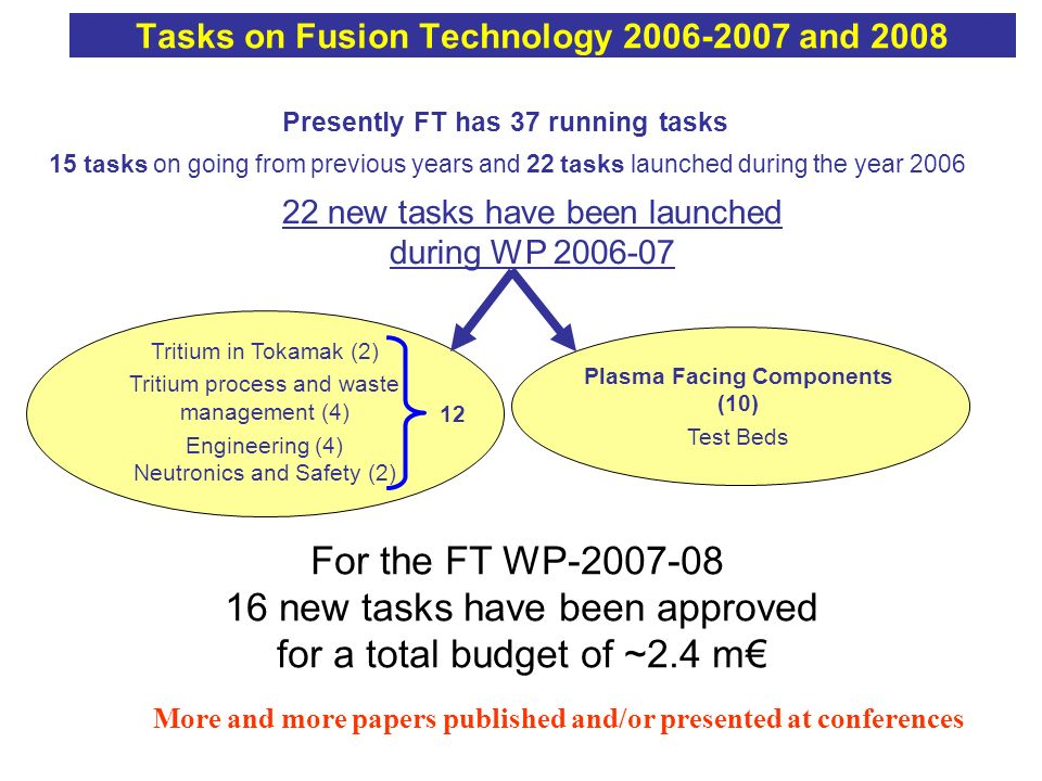 Tasks on Fusion Technology 2006-2007 and 2008