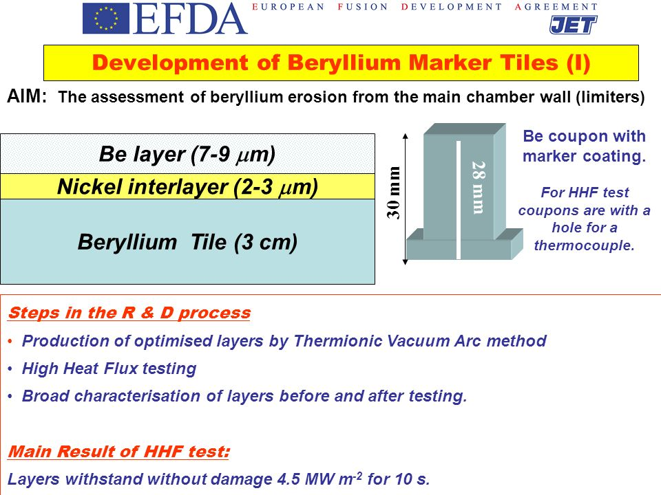 Development of Beryllium Marker Tiles (I)