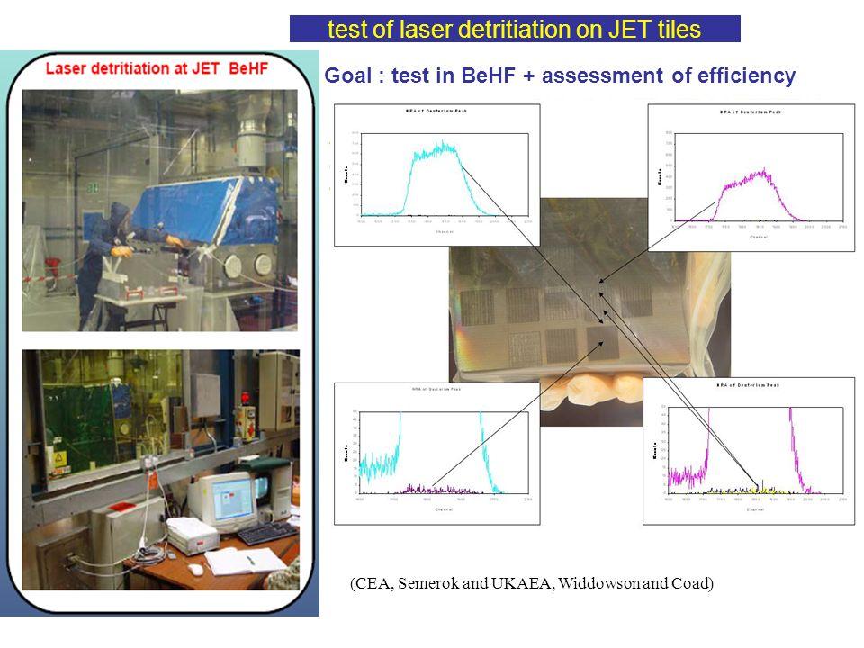 test of laser detritiation on JET tiles