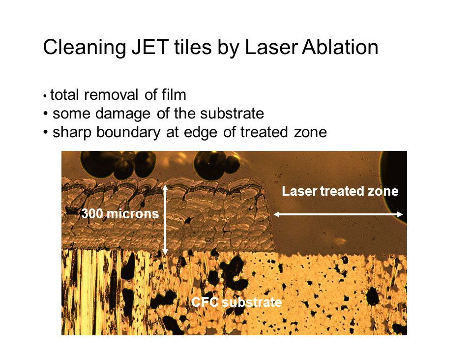Cleaning JET tiles by Laser Ablation