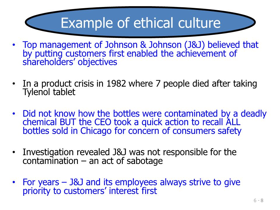 impact of culture on the ethical Organizational culture encompasses values and behaviours that contribute to  the unique  the values of a corporate culture influence the ethical standards  within a corporation, as well as managerial behavior senior management may  try to.