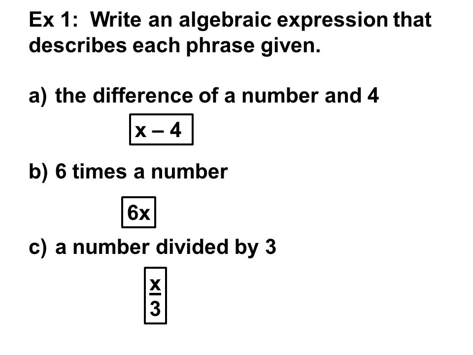 Writing algebraic expressions worksheets with answers