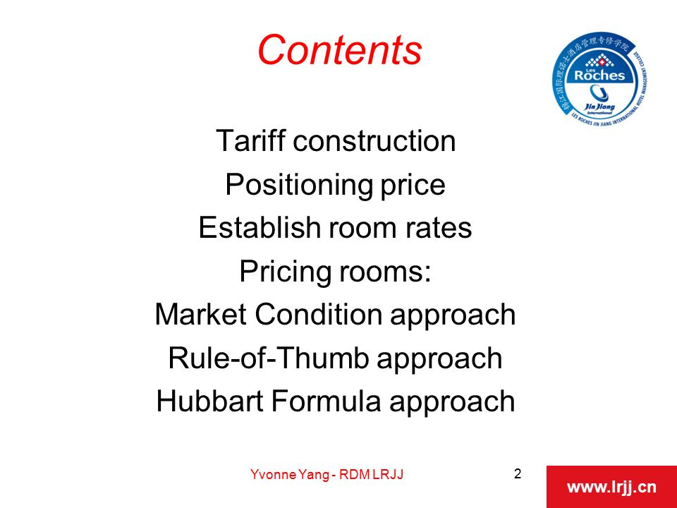 Hubbart Formula Establishing Room Rates