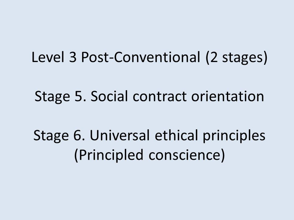 Level 3 Post-Conventional (2 stages) Stage 5