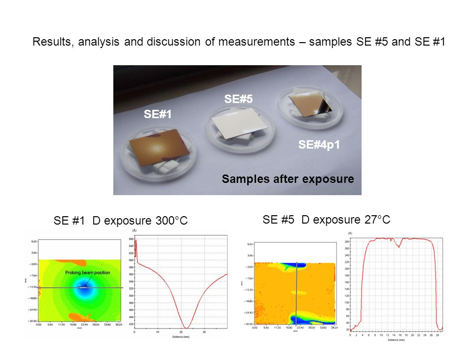Results, analysis and discussion of measurements – samples SE #5 and SE #1