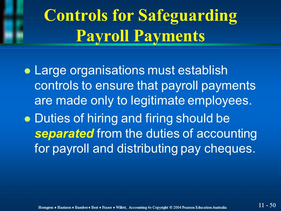 controls for safeguarding payroll payments. Resume Example. Resume CV Cover Letter