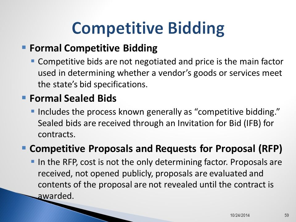 competitive bidding and sealed proposals essay Assignment 1: sealed bids vs competitive proposalsdue week 3 and worth 120 pointswrite a 1-2 page paper in which you compare and contrast sealed bidding and competitive proposals in terms of which are most advantageous to contractorsyour assignment must:•be.
