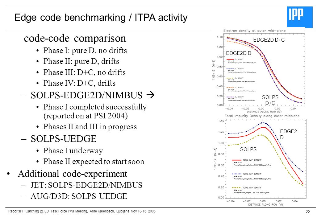 code-code comparison Edge code benchmarking / ITPA activity