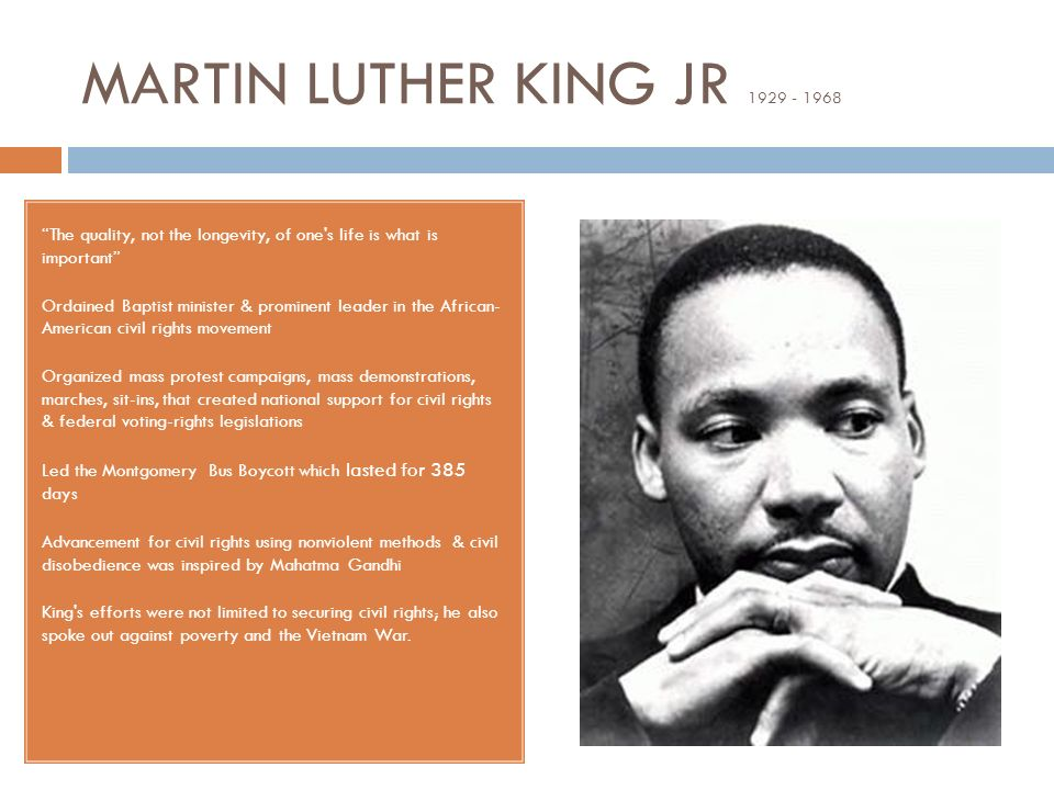 the life of an outstanding black american leader martin luther king jr Here are four examples of dr martin luther king jr's transformational leadership that i found relevant and interesting today 1 transformational leaders challenge the status quo and encourage followers to explore new ways of doing things.