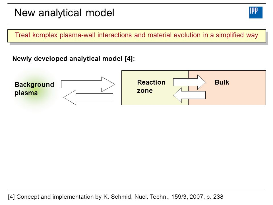 New analytical model Treat komplex plasma-wall interactions and material evolution in a simplified way.