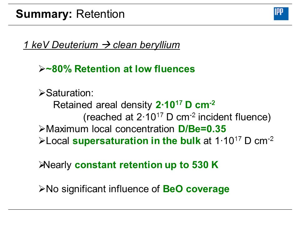 Summary: Retention 1 keV Deuterium  clean beryllium