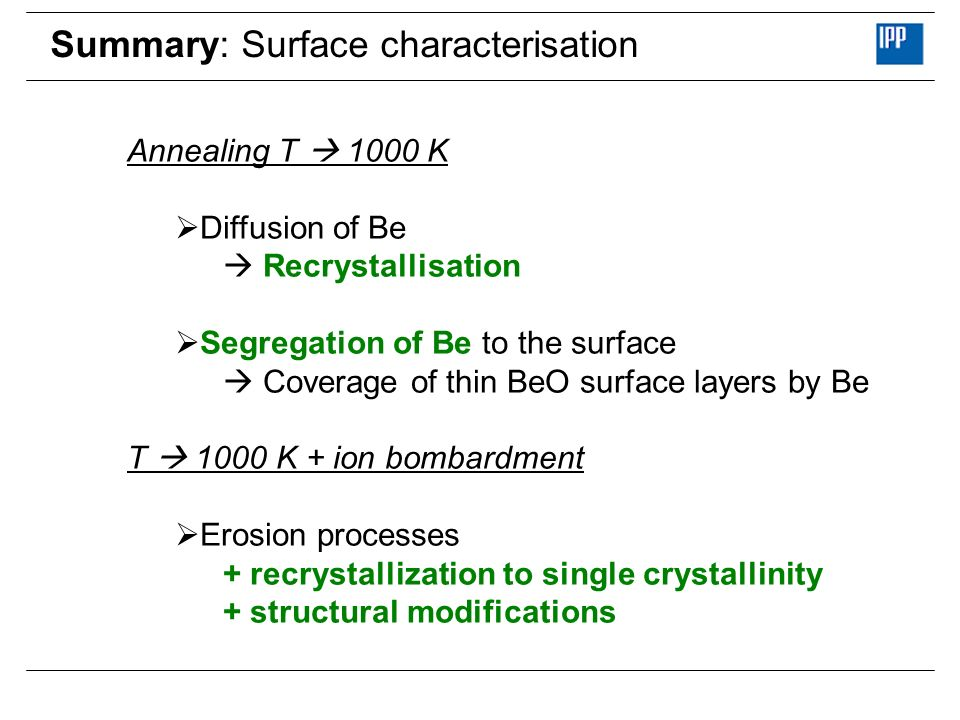 Summary: Surface characterisation