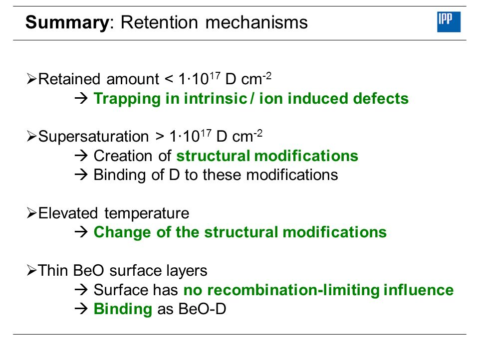 Summary: Retention mechanisms