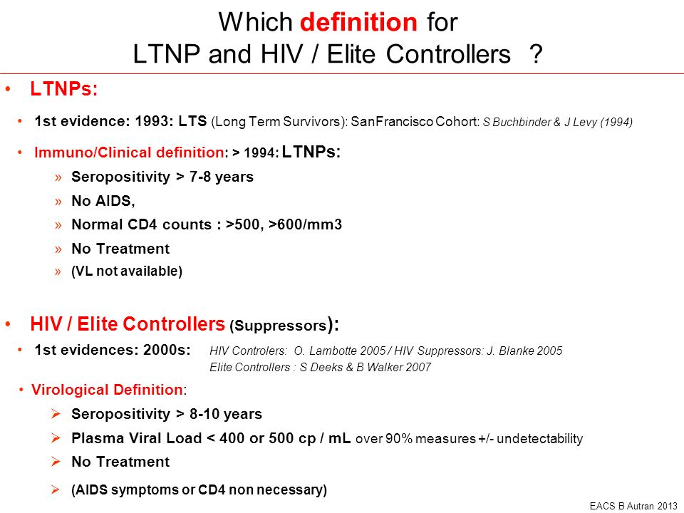 Which definition for LTNP and HIV / Elite Controllers